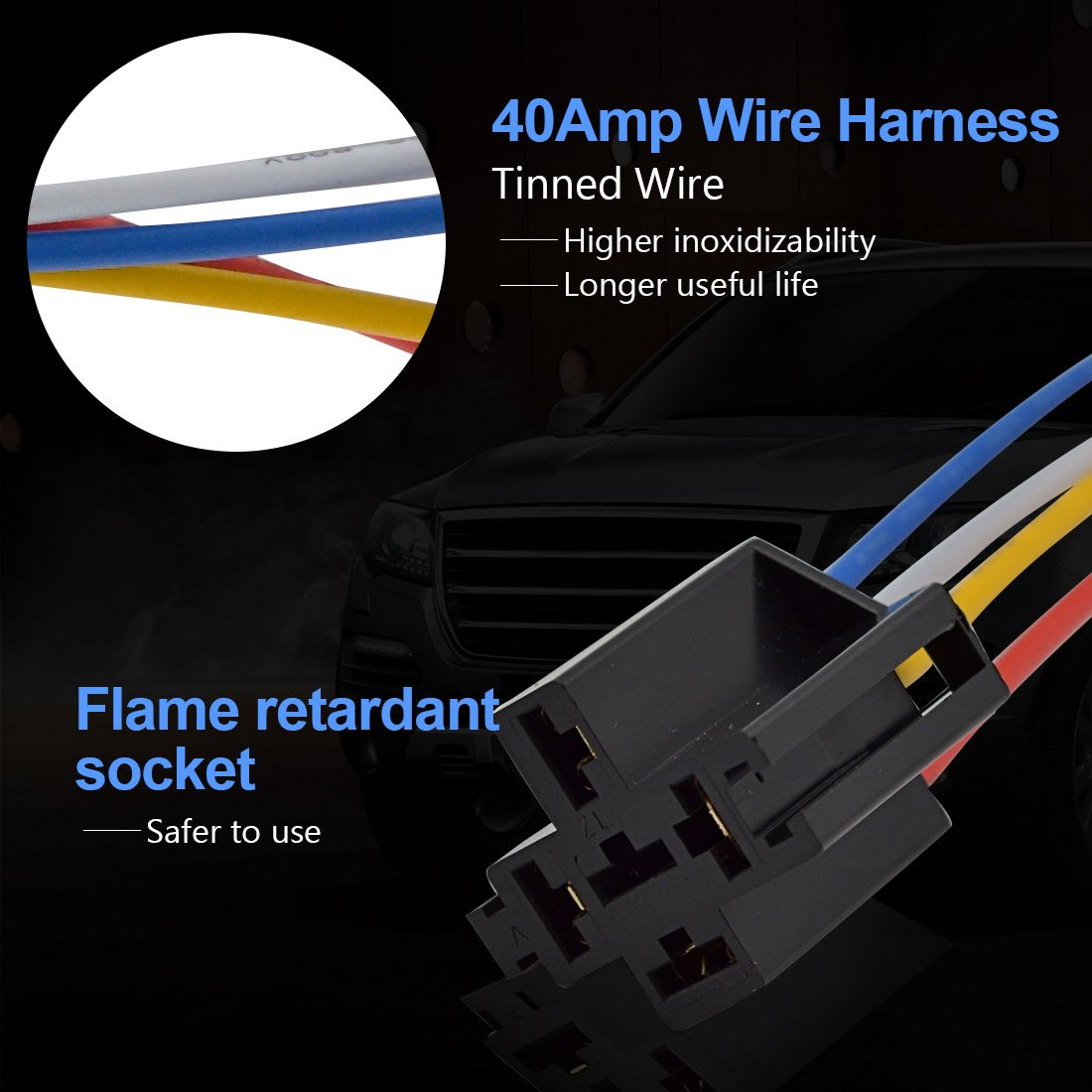 Safego 40amp 160w Relay Socket 5 Pin 4 Prong Color Labeled Wires Wiring Automotive Holder Harness Connector