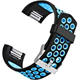 For Fitbit Charge 2, bayite Replacement Bands Soft Silicone Breathable Accessories Fitness Wristband Adjustable Fashion Sport Strap
