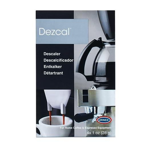 Urnex Dezcal Coffee and Espresso Machine Descaling Powder, 4 Single Use Packets