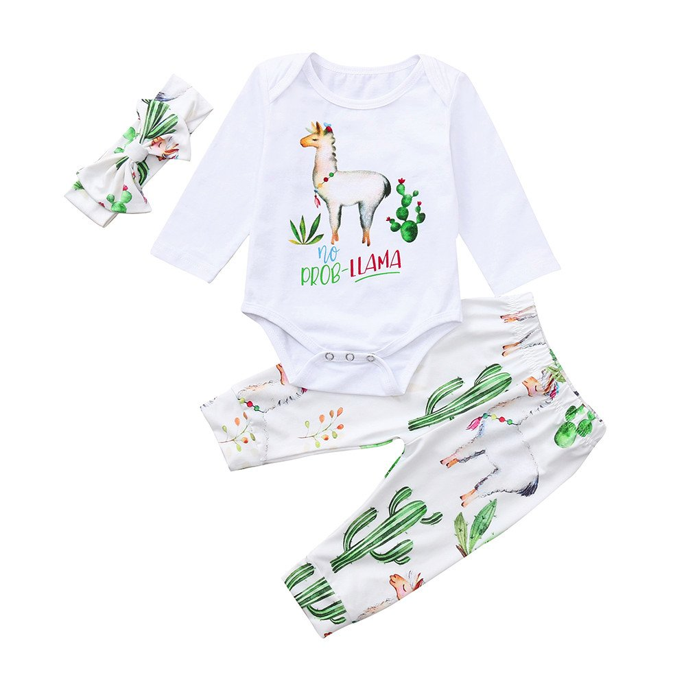 Baby Boys Girls Clothes Set for 0-24 Months Newborn Cartoon Romper Jumpsuit Tops+Pants Outfit with Headband