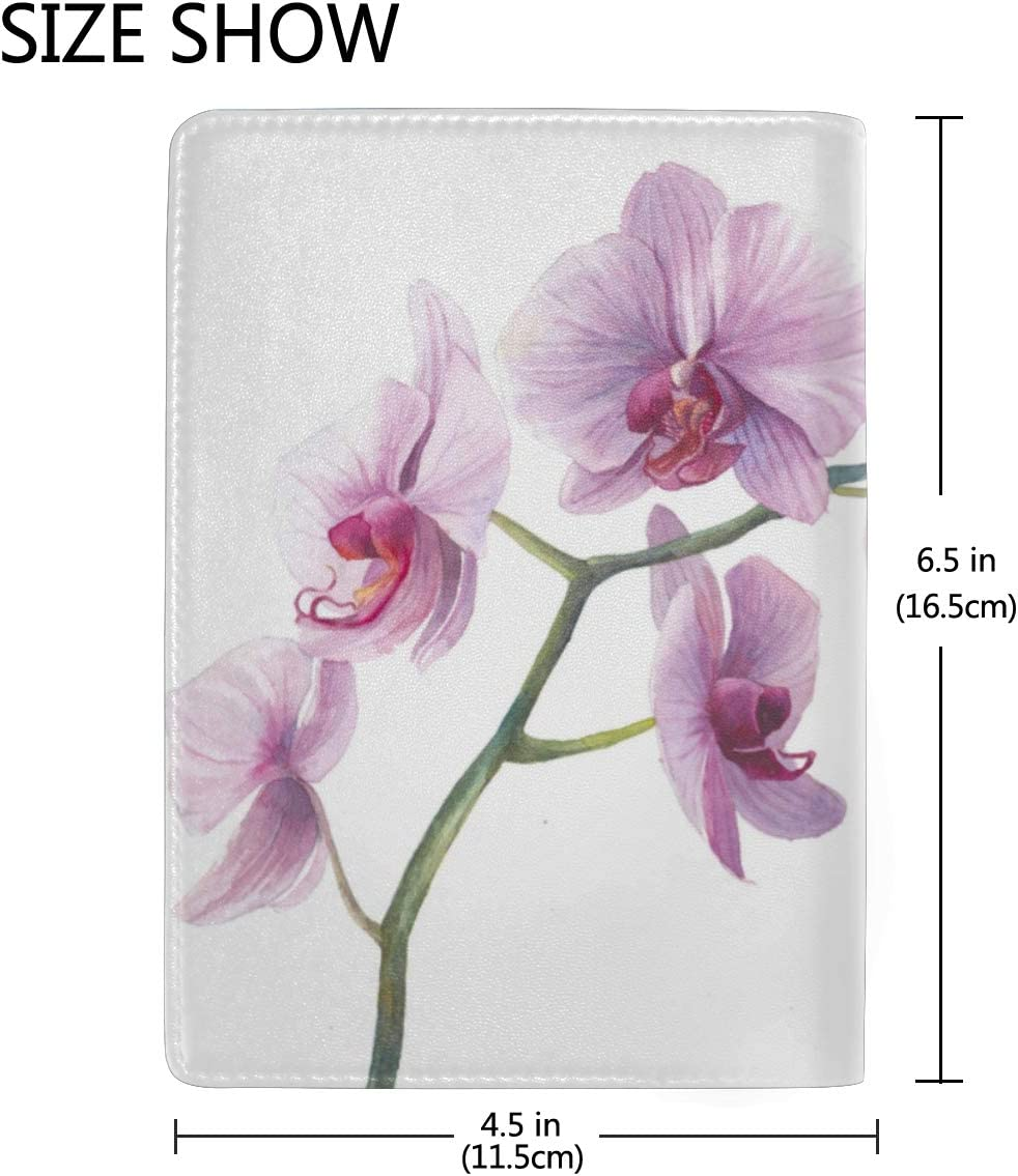 Us Passport Case Flowers Pink Orchid Stylish Pu Leather Travel Accessories Passport Hard Cover For Women Men