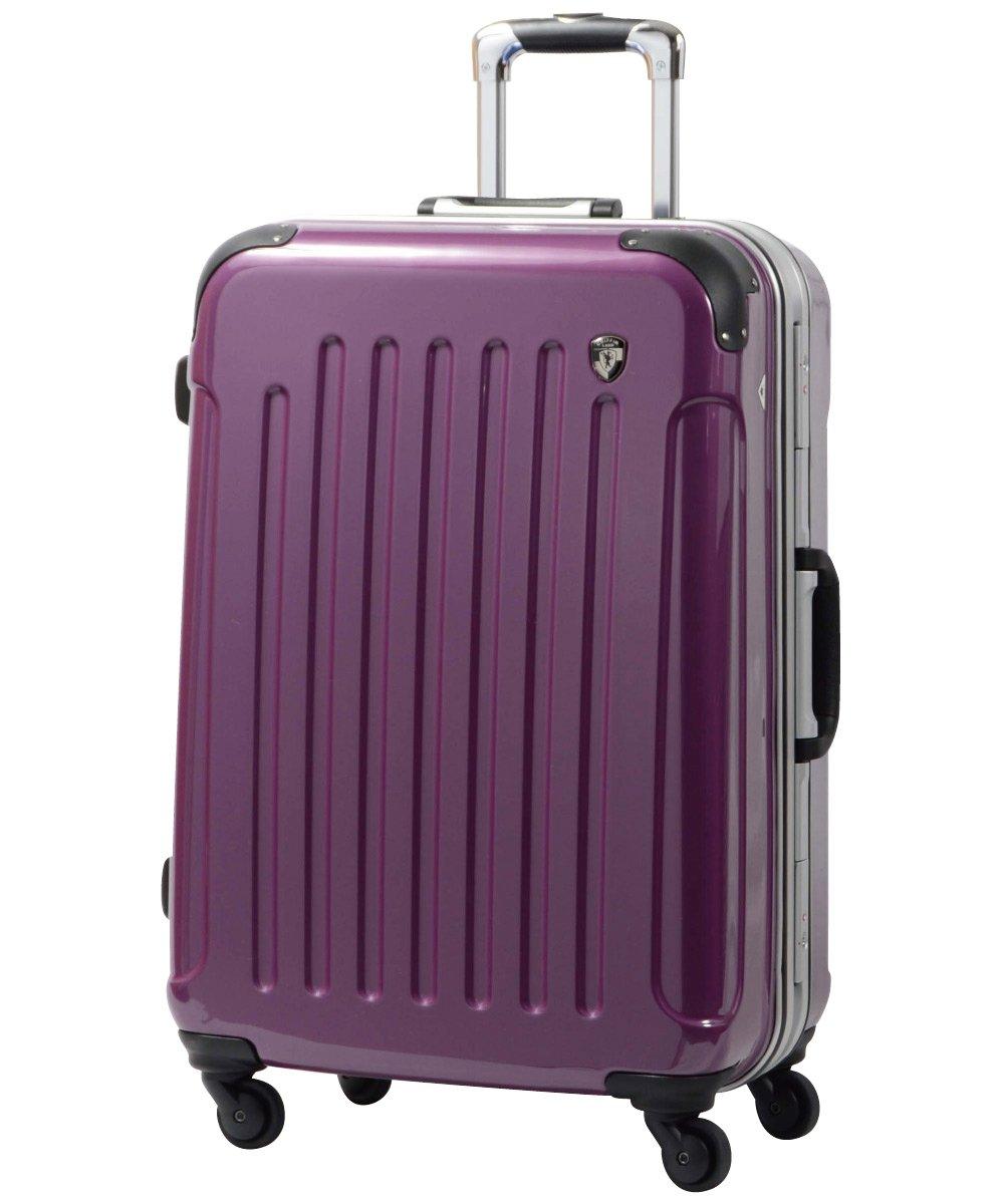 [グリフィンランド]_Griffinland TSAロック搭載 スーツケース 軽量 アルミフレーム ミラー加工 newPC7000 フレーム開閉式 B078JK25KP MS型+【名前刻印】|ジェムストーンパープル ジェムストーンパープル MS型+【名前刻印】