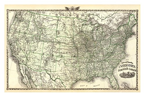 """Global Gallery """"Warner And Beers New Railroad Map Of The United States And Dominion Of Canada 1876"""" Unframed Giclee on Paper Print, 19 3/8"""" x 30"""""""