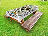 Ambesonne Sugar Skull Outdoor Tablecloth, Catrina Calavera Featured Figure Ornaments Macabre Remember The Dead Theme, Decorative Washable Picnic Table Cloth, 58 X 84 inches, Multicolor