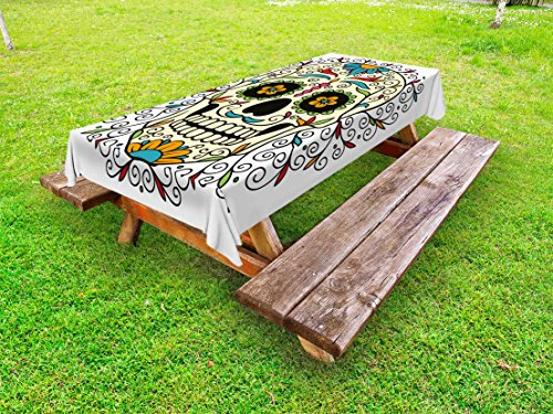 Ambesonne Sugar Skull Outdoor Tablecloth, Catrina Calavera Featured Figure Ornaments Macabre Remember The Dead Theme, Decorative Washable Picnic Table Cloth, 58 X 84 inches, Multicolor by Ambesonne
