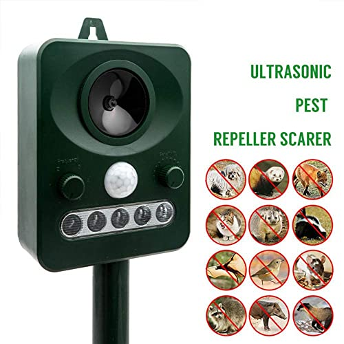 MASO Solar Power Ultrasonic Pest Control Animal Repeller Outdoor Home Guard Deterrent to Protect Your Yard from Dogs, Cats, Squirrels, Rodents
