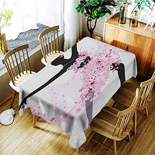 (XXANS Small Rectangular Tablecloth,Latin,Silhouette of a Woman Dancing Samba Salsa Latin Dances Spain and Mexico Culture Print,Fashions Rectangular,W60x84L Pink Black)
