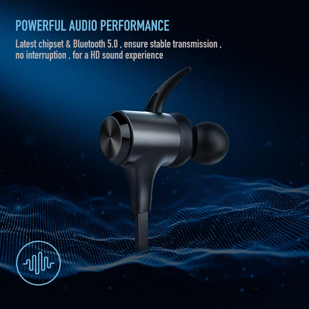 Boltune Wireless Headphones, Bluetooth 5.0 IPX7 Waterproof 16 Hours Playtime Bluetooth Headphones, with Magnetic Connection, Sports Earphones for Running Built-in Mic by Boltune (Image #2)