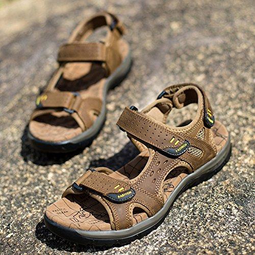 SK Studio Men's Leather Athletic Sport Sandal Flats Shoes Light Brown jkpMzI
