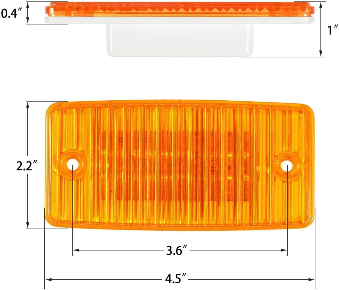 Partsam 5pcs Truck Trailer Cab Marker Light Amber 12LED Rectangle Cab Roof Running Top Reflective Lights Assembly Compatible with Freightliner//Volvo Truck Trailer