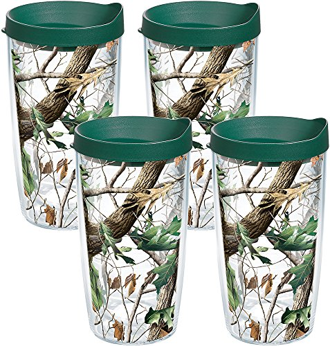 Tervis 1159604 Realtree - Camo Hardwoods Knockout Tumbler with Wrap and Hunter Green Lid 4 Pack 16oz, Clear