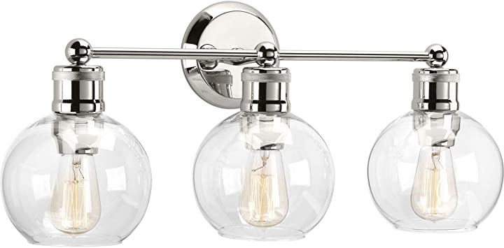 Progress Lighting P300051-104 Hansford Bath & Vanity, 3 Light, Polished Nickel