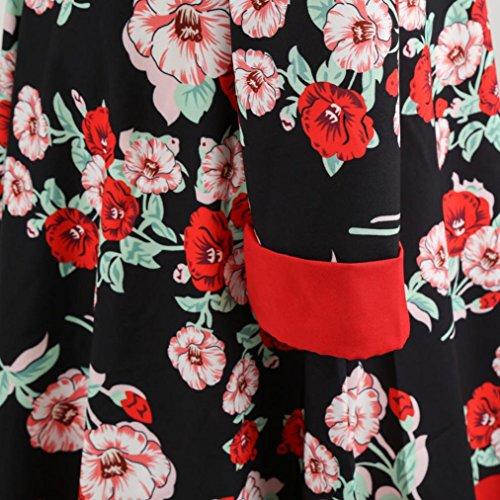 soire rtro Audrey Grande Robe imprime Vintage Taille de 1950's Rouge Longues Fleurs Hepburn dcontracte Manche Cocktail qpxS7Sdn