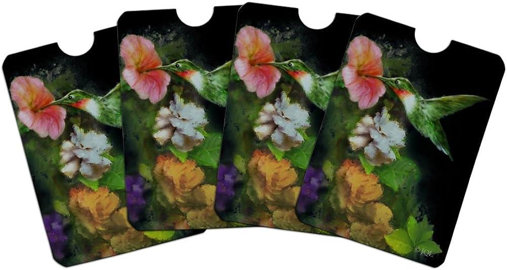 Rubys Hummingbird Flower Garden Credit Card RFID Blocker Holder Protector Wallet Purse Sleeves Set of 4