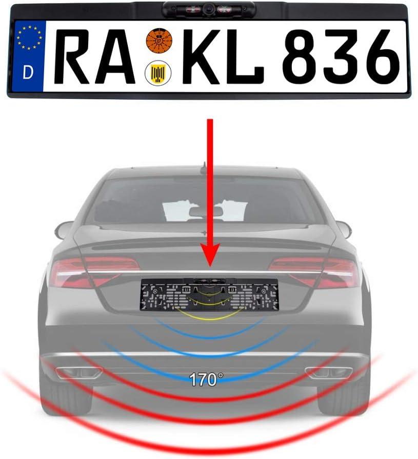 Rückfahrkamera Kennzeichen Nummernschild Kennzeichenhalterung Mit Nachtsicht Ir Farbe Kamera 10 Meter Kabel Für Auto Pkw Kfz Universal Distanzlinien Hilfslinien Für Monitor 170 180 Ympa Rfk Nsk10 Auto