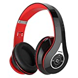 Mpow M3 Over Ear Bluetooth Headphones, Foldable Headphones Stereo Wireless Headsets Ergonomic Designed with Soft Earmuffs, Built-in Mic for Mobile Phone TV PC Laptop (13 Hrs Playing Time, Storage Bag Included, Black & Red)