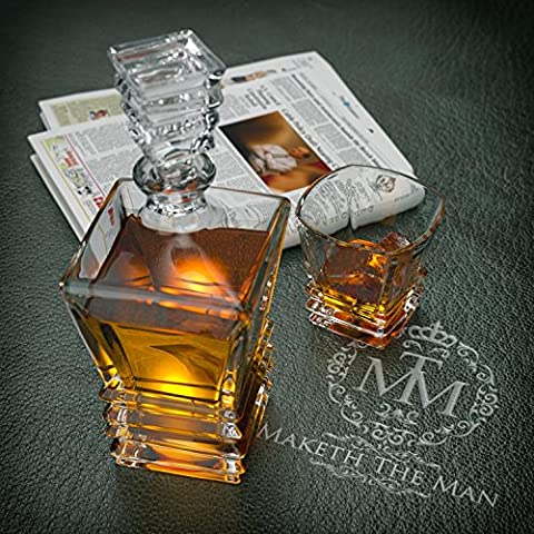 Art Deco Premium Quality Lead Free Crystal Whiskey Glasses Set Of 2 In Unique Elegant Gift Box. Dishwasher Safe. The Original Art Deco Old Fashioned Glasses, Tumblers For Whisky, Scotch Or Bourbon.