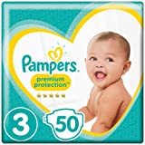 Pampers Premium Protection, Size 3 Crawler (6kg to 10kg), 50 Nappies, For unbeatable skin protection