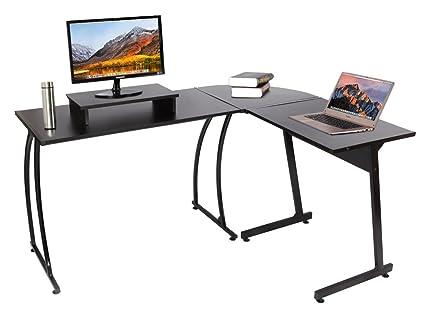 Bon Easeurlife L Shaped Computer Desk Black Office Corner Desk With Free  Monitor Riser, Black