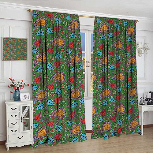 youpinnong Ethnic Widened Room Darkening Curtains Ethnic Image with Swirls Floral Details Paisley Design Fern Green Backdrop Drapes for Living Room 120