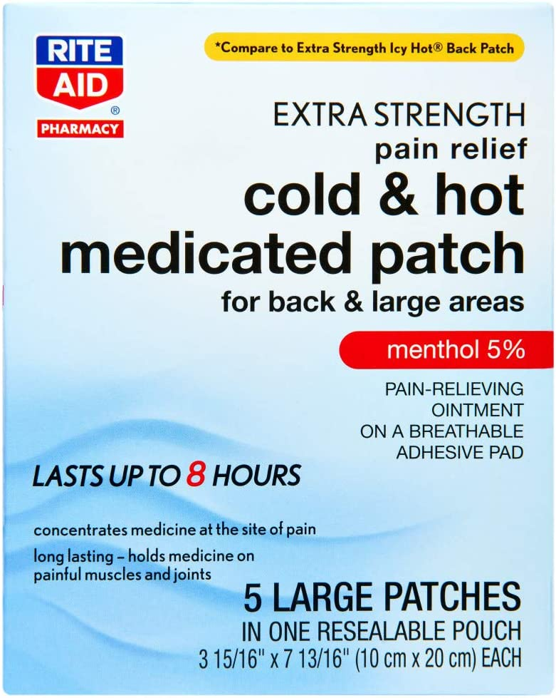 Rite Aid Cold & Hot Medicated Pain Relief Patches, Large - 5 Count   Sore Muscle Relief