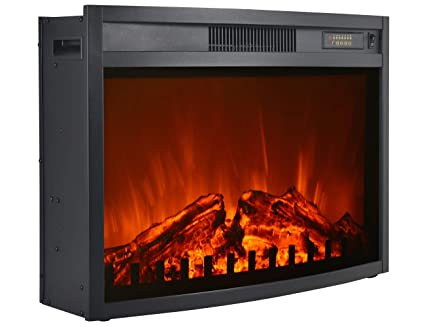3G Plus Electric Fireplace Insert Heater Carbon Log Fuel Effect Adjustable  Flame Brightness w/Remote 26 inch-Black