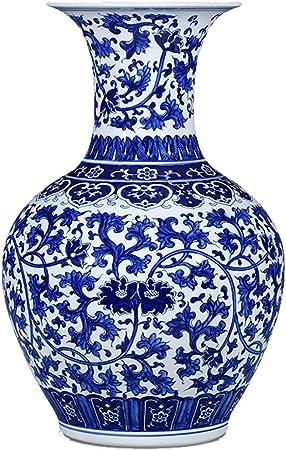 Vases Ceramic Classical Large Floor Standing For Dry Flowers Decoration Art Home Household Wedding Living Room Bedroom Office Desktop Blue 37 X 58 Cm Amazon Co Uk Kitchen Home