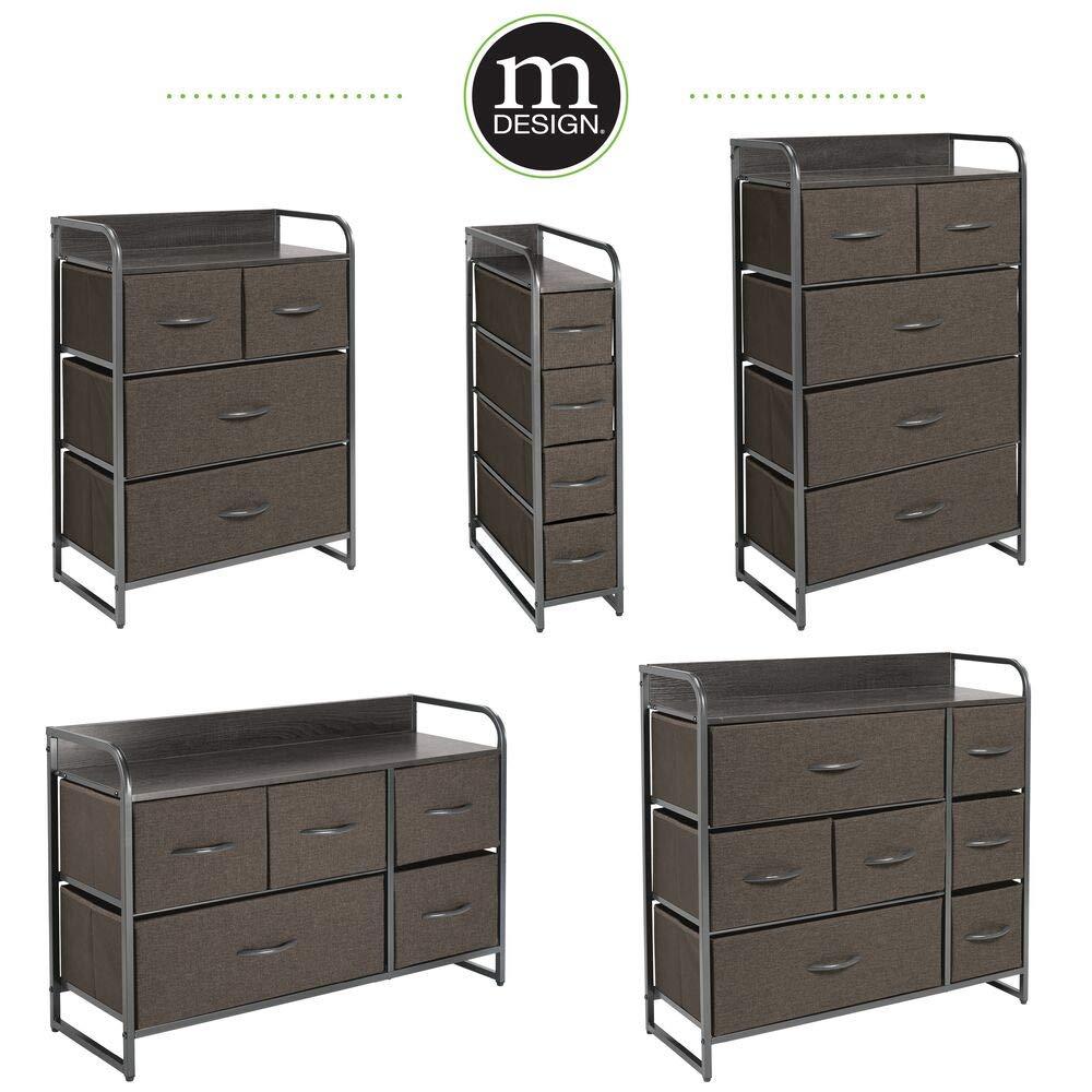 Legno MDF e Tessuto Com/ò in Metallo Capiente canterano Ideale per Qualunque Stanza della casa Grigio mDesign Elegante cassettiera con 2 cassetti Grandi 2 Medi e 3 Piccoli