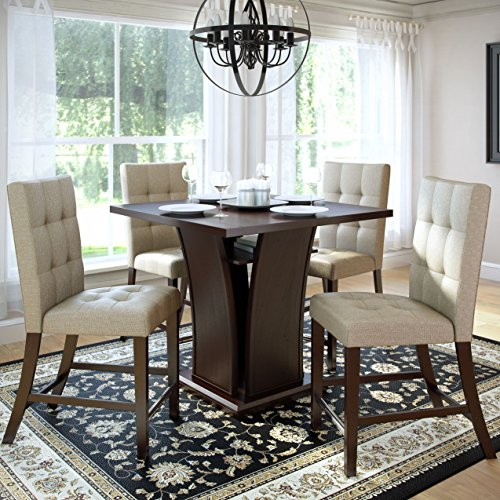 CorLiving 5 Piece Bistro Counter Height Wood Dining Set with Platinum Beige Woven Padded Seats