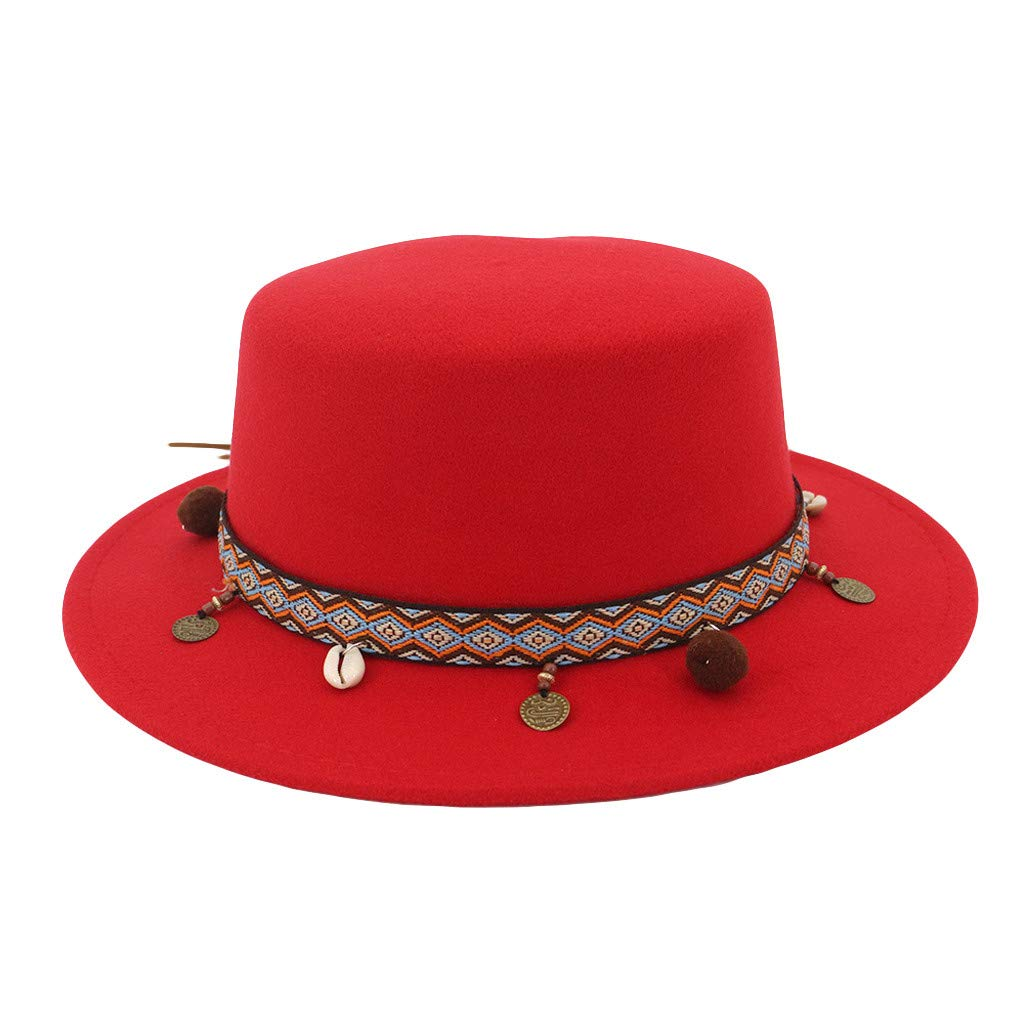 Women Wide Brim Vintage Hat Wool Belt Felt Flat Top Fedora Hat Party Bowler Caps Church Trilby Indian Hats (Red)