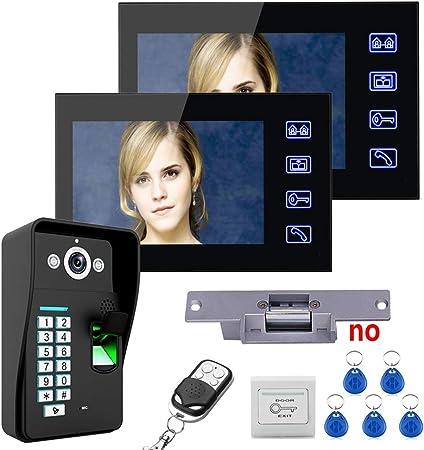 OWSOO Interphone Vid/éo,visiophone avec 7 Pouces Moniteur,Empreintes digitales Mot de Passe t/él/écommande HD cam/éra vid/éo Porte t/él/éphone Sonnette interphone syst/ème sans Fil d/éverrouille