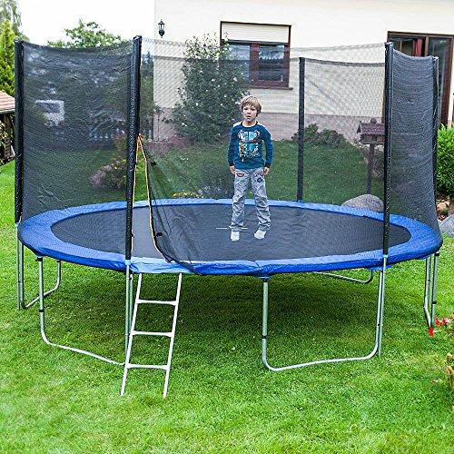 Gartentrampoline Trampoline Outdoor-Trampoline Fitness-Trampoline 400cm , inkl. Sicherheitsnetz,Schuhtasche, Bodenanker, Leiter und Abdeckplane