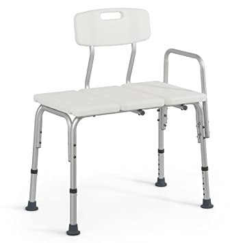 medical deluxe bath chair transfer bench with 3 position backrest white
