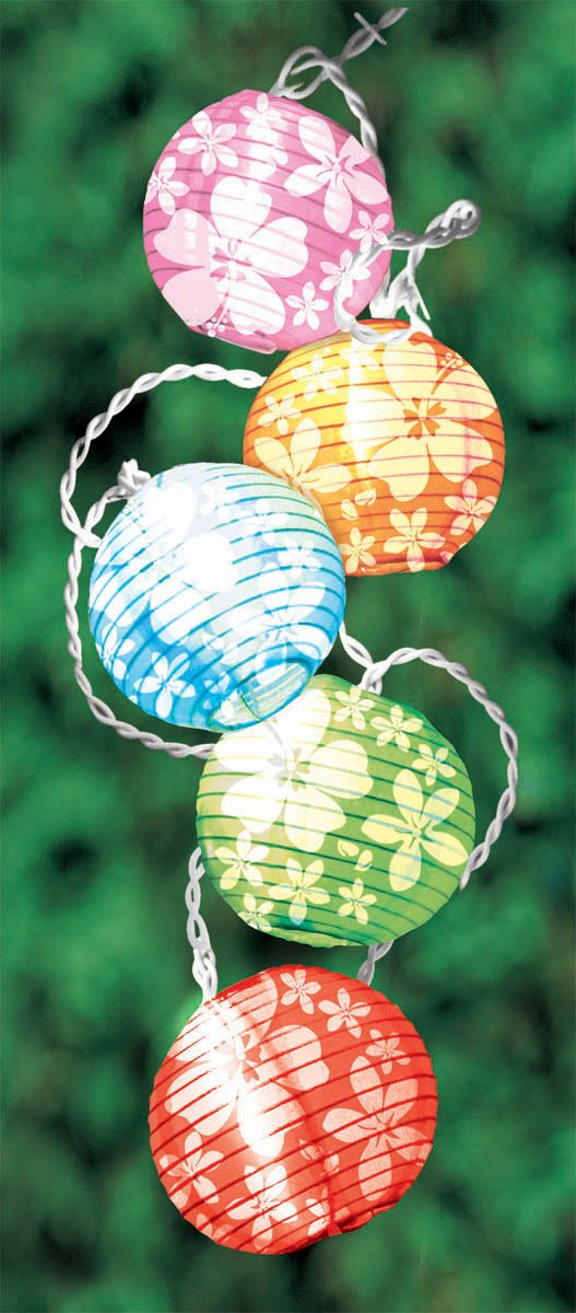 Grasslands Road Round Hibiscus Flower Design Lantern Patio 10 Light Set, 9-Foot