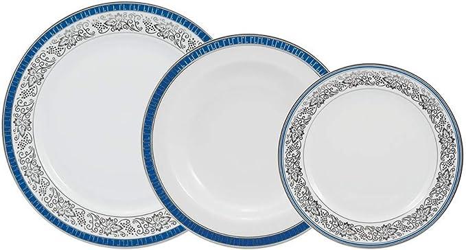 Serviço de jantar 42 peças em porcelana. Modelo redondo itamaraty. Decoração júlia. Fabricado pela schmidt.