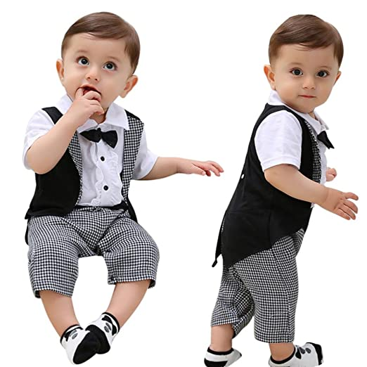 69b18ee4affe Amazon.com  Dinlong Kids Baby Boys Clothes Romper Gentleman Bow Tie ...