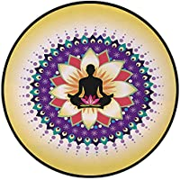 Printing Round Rug,Yoga Decor,Round Circle Icon for Yoga Lotus Sitting Posture Peaceful Mind Workout Artsy Print Mat Non-Slip Soft Entrance Mat Door Floor Rug Area Rug For Chair Living Room,Yellow Pur