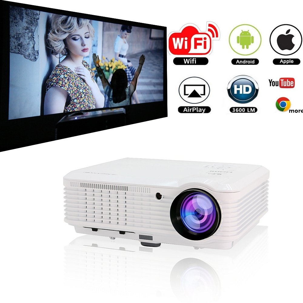 Video Projector Wireless WiFi 3600 Lumen Support 1080P Full HD, Home Theater Cinema Projector Android for Laptop iPhone Smartphone Computer, Outdoor Movie Projector Entertainment with Keystone Speaker