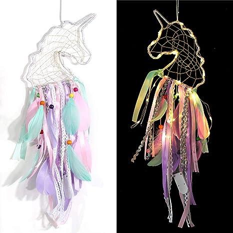 KOROTUS COLLECTION Unicorn Dream Catcher for Girls Bedroom LED Light Up Wall Decor Handmade Wall Hanging Decoration Ornaments Unicorn