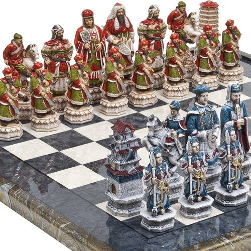 Bello Games Collezioni-Great Wall of China Luxury Chessmen & Mancini Chess Board from Italy Giant Size: King 5 3/4