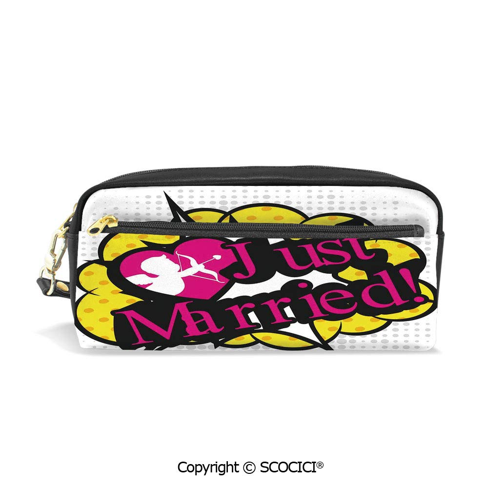 Students PU Pencil Case Pouch Women Purse Wallet Bag Pop Art Style Design Cupid Bow Arrow Love in The Air Just Married Retro Waterproof Large Capacity Hand Mini Cosmetic Makeup Bag