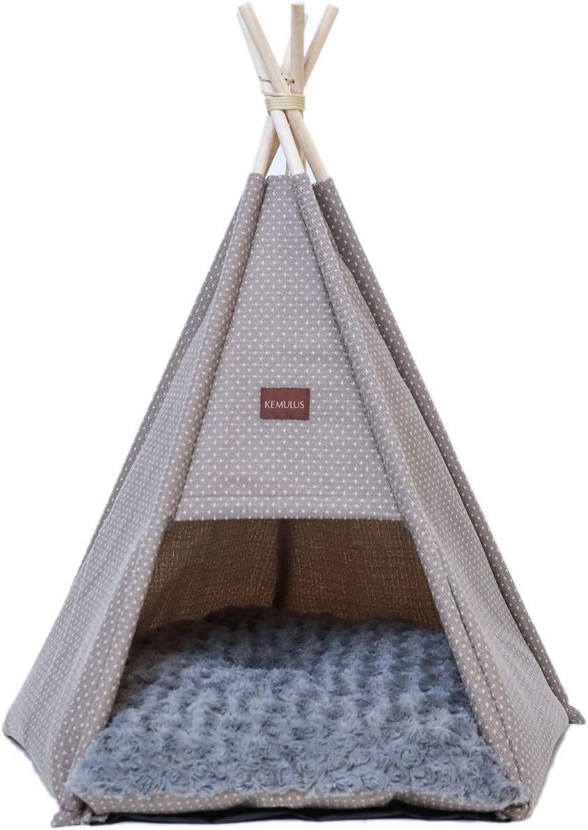 Luxury Cozy Cave Sleep Bed Indoor and Outdoor. Kemulus Cute Dog Tent with Cushion Portable Pet Teepee for Puppy/&Cat