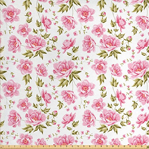 Ambesonne Shabby Chic Fabric by The Yard, Floral Peonies with Leaves Vintage Style in Mod Graphic Print Boho Art, Decorative Fabric for Upholstery and Home Accents Green Pink White