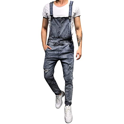 a47557b9048 Simayixx Men s Overall Jumpsuit Loose Sleeveless Long Pants Rompers Teens  Pocket Button Washed Cowboy Trousers Sling