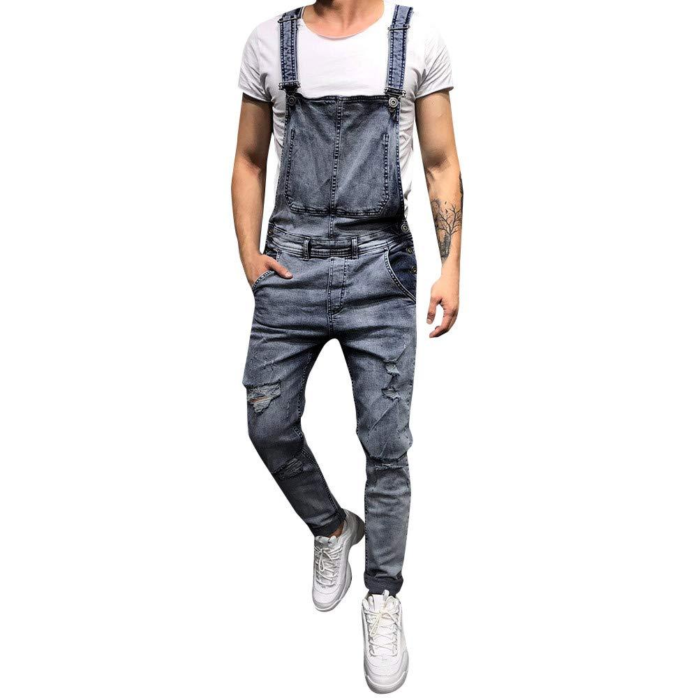 VonVonCo Men's Overall Casual Jumpsuit Jeans Wash Broken Pocket Trousers Suspender Pants (2XL, Blue)