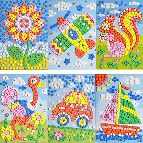 Weoxpr Mosaic Sticker EVA DIY Handmade Art Kits for Kids - Sunflower, Woodpecker, Hot Air Balloon, Butterfly, Giraffe, Sailboat