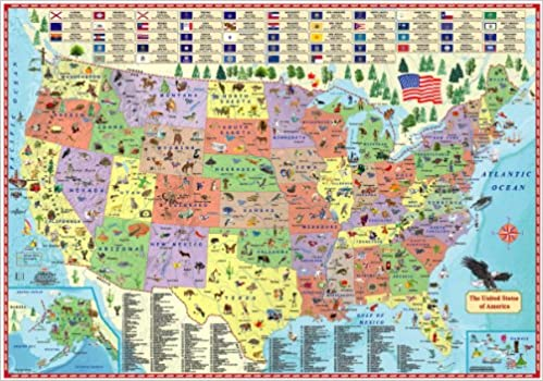 Illustrated map of the US for kids Laminated Childrens Wall Map of
