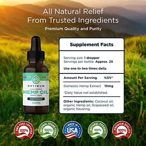 Hemp Oil for Anxiety, Joint Pain Relief, Sleep, Neuropathy, Natural Anti-Inflammatory, Skin Mood Nails Full Spectrum Strength, 1 Fl Oz., 25 Doses