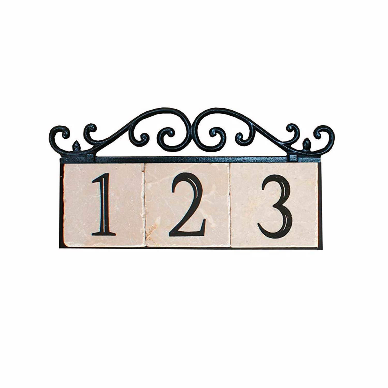 Iron NACH KA House Address Sign//Plaque 5 Numbers 21 x 8 x 1 Old World