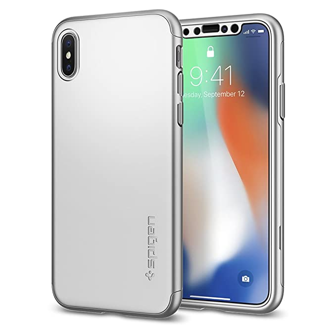 brand new 791df 129dc Spigen Thin Fit 360 Designed for Apple iPhone X Case (2017) 2 Tempered  Glass Screen Protectors Included - Satin Silver